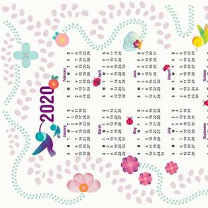 Cute flowers and animals - Tea towel calendar 2020