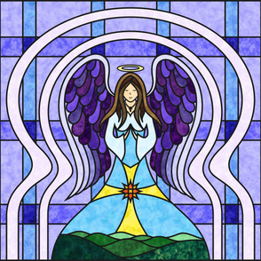 Praying Angel Stained Glass Quilt Panel - Light Skin - Purple / Blue 42 Inch