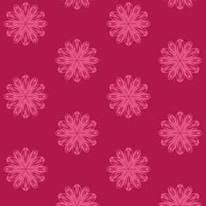 Mellow Flowers of Cherry Pink Delight on Dark Cherry Fizz