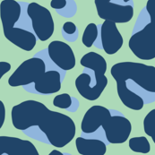 Leopard Print Pattern Navy and Green