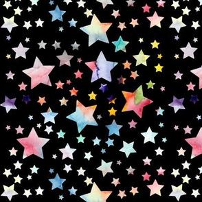 Watercolour stars - rainbow - black background