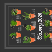 2020 Calendar potted culinary herbs Tea Towel