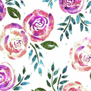 Sweetly Distressed Watercolor Floral - Cool