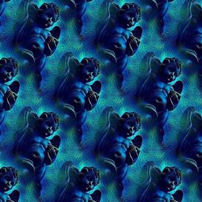 Vintage Dark  Blue Cherub Angel