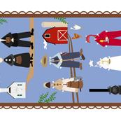 folk art paper dolls tea towel150
