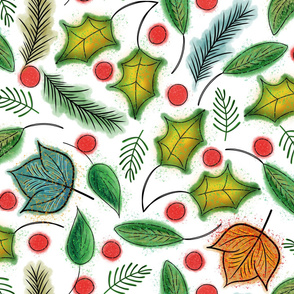 Hand Drawn Winter Flora - Holly Leaves, Ferns, Maple Leaves, Berries