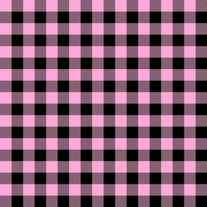 Buffalo Plaid//Bubblegum pink&black - 1 inch