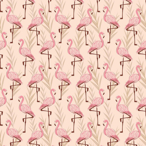 Standing flamingos - Small Scale- Sand