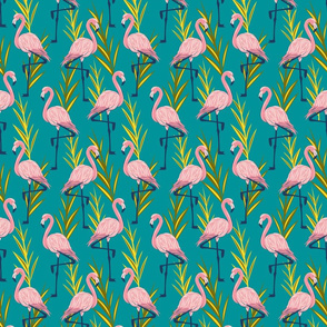 Standing Flamingos - Small Scale- Teal