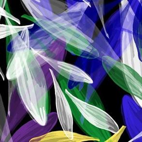 Leaf Dance | Blue, Yellow , Violet on Black