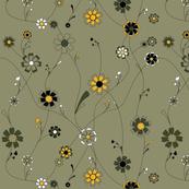 Sunflower Vines in Sage Green