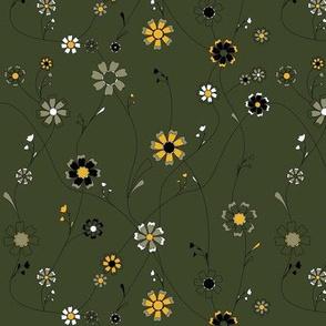 Sunflower Vines in Olive Green