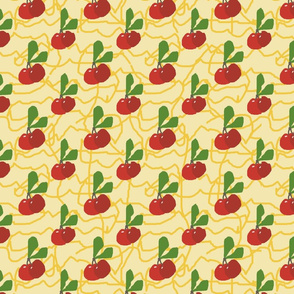 Cherries on a Pale Yellow Background