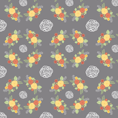 Country Roses - orange/lemon - small