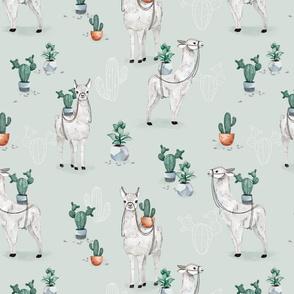Cactus Llama - light mint - BIG