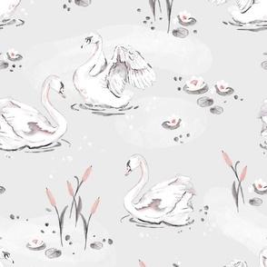 Watercolor Swan - grey - big