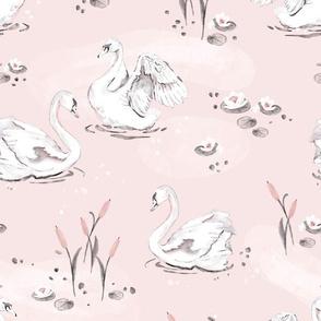 sWatercolor Swan - pink - big