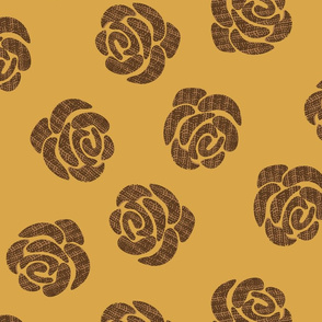 brown roses on mustard background