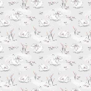 Watercolor Swan - grey - small