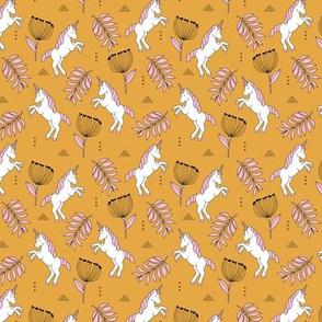 Little Unicorn botanical garden dreams palm leaves and unicorns dream pattern ochre yellow pink SMALL