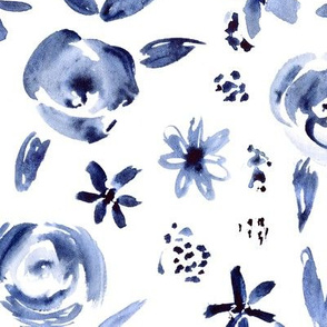 Gzhel russian monochrome style watercolor floral pattern