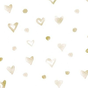 Little hearts and dots •  boho pattern for neutral nursery •  watercolor