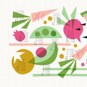 Papercut Veggies Multicolor Calendar 2020 tea towel