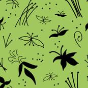Sophisticated Floral - Black on Olive Green