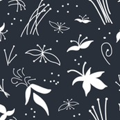 Sophisticated Floral - White on Charcoal Grey