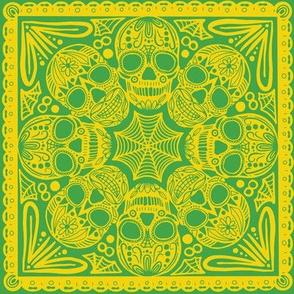 Green Sugar Skull Tile