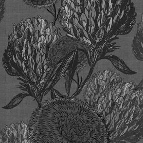 flowers moody black