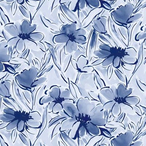 painterly watercolor floral indigo blue small scale
