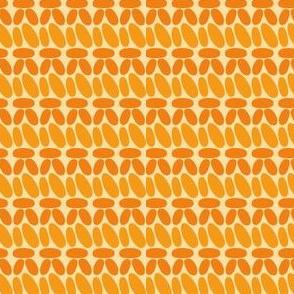 Single crochet stitch rows orange stripes
