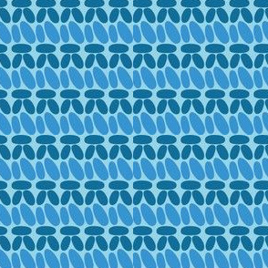 Single crochet stitch rows blue stripes