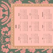 2020 calendar tea towel. Pink and green damask
