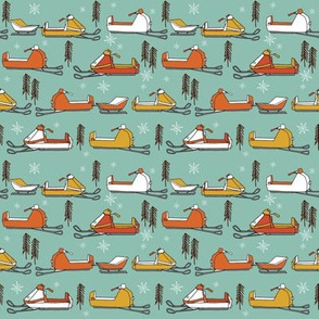 SMALL - snowmobiles fabric // vintage snowmobile illustration, winter outdoors snow fabric by andrea lauren - mustard, orange