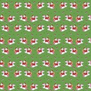 santa unicorn fabric - funny christmas fabric, unicorn christmas fabric, santa claus fabric, father christmas fabric, cute holiday design -  medium green