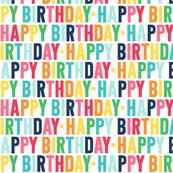 happy birthday rainbow with navy - uppercase