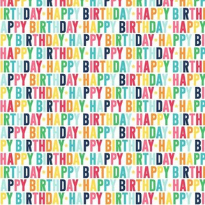 happy birthday XSM rainbow with navy - uppercase