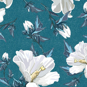 Large Rose of Sharon  | Teal Texture