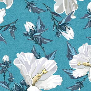 Large Rose of Sharon | Light Teal Texture