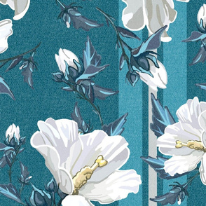 Large Rose of Sharon Collection | Teal Stripes w/ Texture