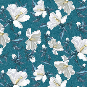 Small Rose of Sharon | Teal Texture