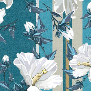 Large Rose of Sharon w/ Full Stripes | Teal