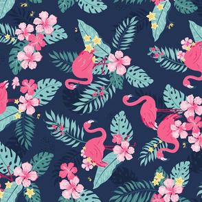 Tropical Flamingos - Navy rotated