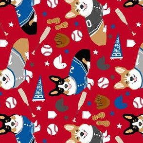 corgi tricolored and red  baseball sports dog fabric red