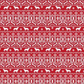 SMALL - Golden Retriever fair isle christmas dog silhouette fabric red