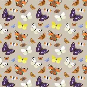 Butterflies on Buff - medium scale