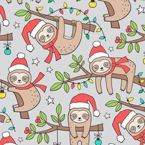 Christmas Holidays Winter Sloths on Light Grey