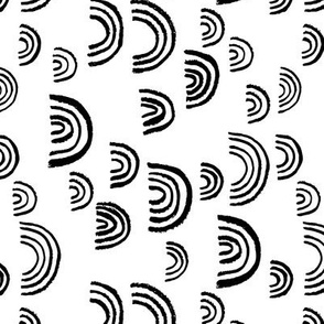 Black and white Scandinavian abstract rainbow sky gender neutral monochrome curve rotated flipped